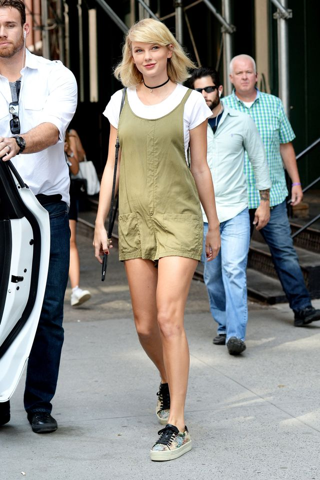 On Taylor Swift:Bishop + Young Gracie Romper($105), Saint Laurent Court Classic Floral Tapestry Sneakers($742).