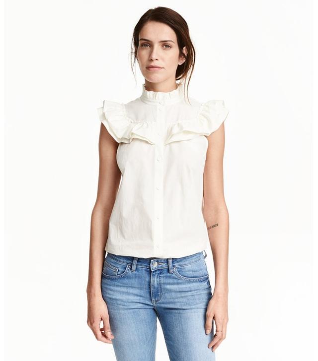 H&M Ruffled Cotton Blouse