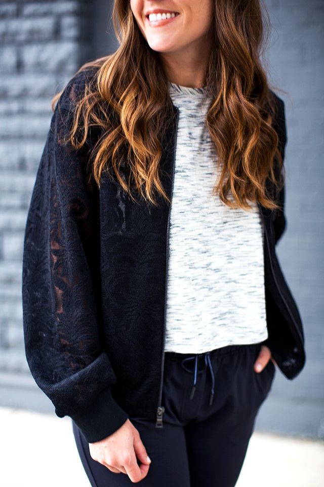 """""""After shopping at Saks Off 5th and discovering this lace BCBG bomber jacket, I was excited to elevate my typical athleisure outfit of black athletic pants, a tank, and sneakers. So..."""