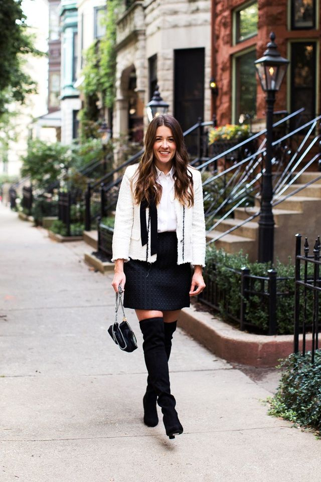 """""""I loved pairing over-the-knee boots with an a-line skirt because it added a fun element to what can be a conservative look."""" — Liz Adams"""