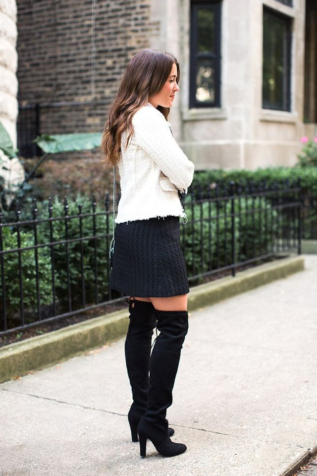 """""""Whether your boots have a heel or are flat, the OTK style shoes a little skin and can either dress up or dress down the look. For a more casual style, throw on a knit sweater to add some..."""