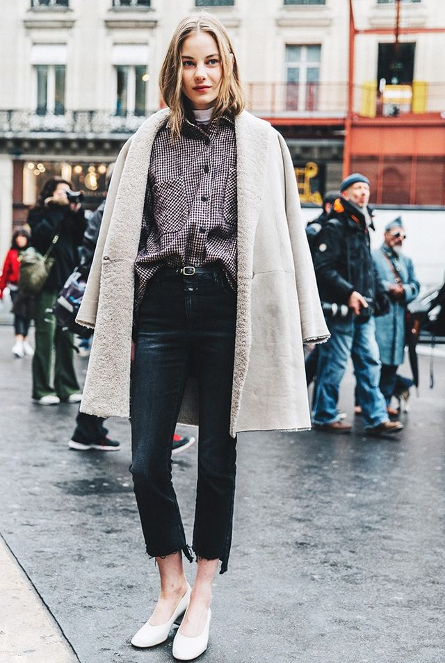 Day 5: Layer a thin turtleneck under an oversize button-down.