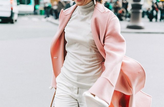 Day 24: Wear an all-white (or cream) look with pastel outerwear.