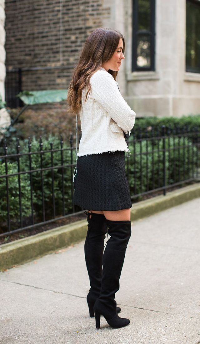 Day 11: Pair over-the-knee boots with an A-line skirt.