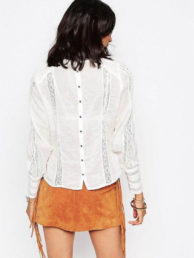 Free People Without You Lace Panel Blouse