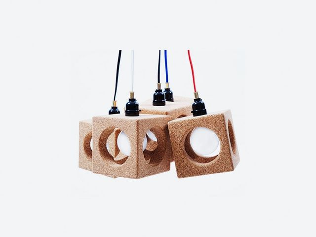 Vedat Ulgen  for Thislexik Worm Hole Pendant Light Made from Cork