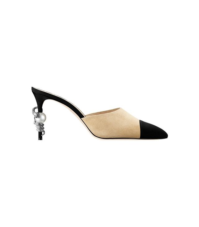 Chanel Mules Suede Goatskin Beige and Black