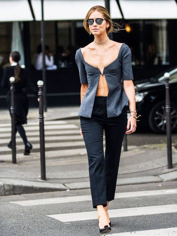 Style Notes: Chiara Ferragni wowed the Milan crowds in this dramatic, flesh-flashing number.