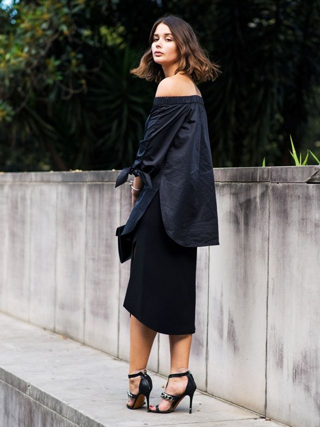 Sara Donaldson, of Harper and Harley, wearing her Tibi tunic There has been a shift: It arguably started with the rise of off-the-shoulder silhouettes. Tibi's cotton tunic was the first frenzied...