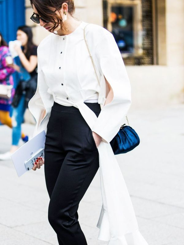 Style Notes: If you can find a blouse with billowing tails, you will create a strong silhouette. Fact.