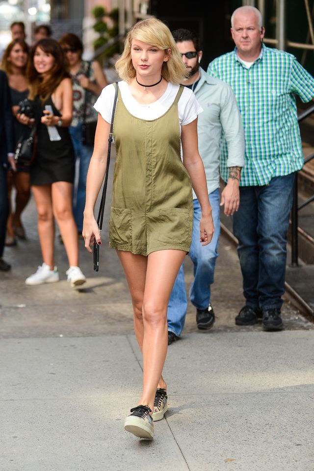 Taylor Swift wearing romper and white tee