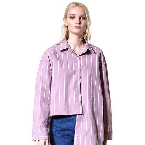 Yanna Striped Unbalance Shirt