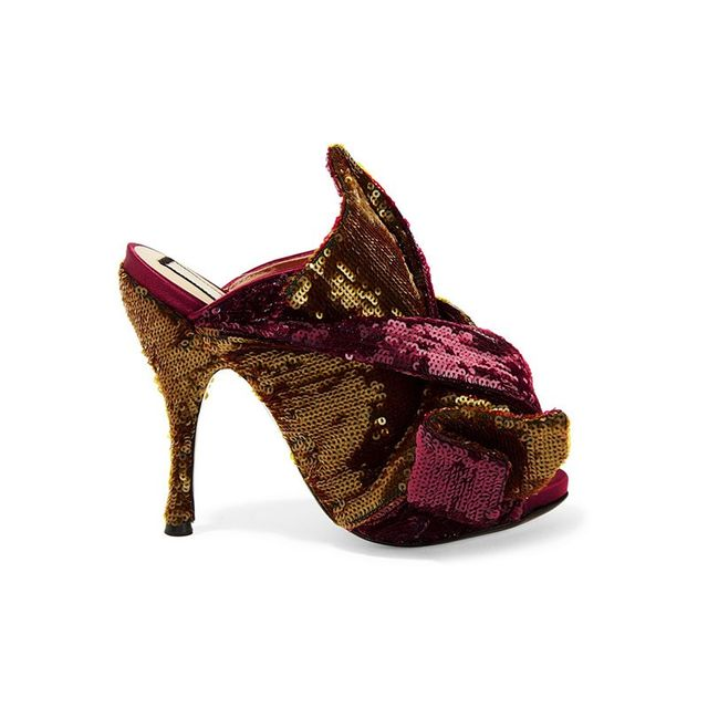 No. 21 Knotted Sequined Satin Mules