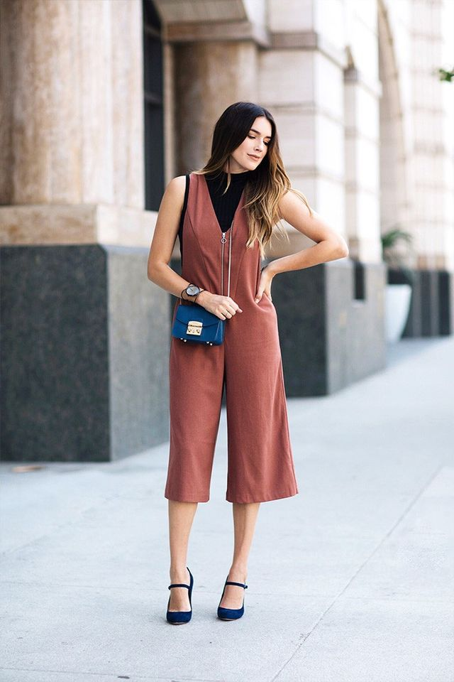 """""""For the second look, finding a jumpsuit that showed off the heel height was at first difficult. This jumpsuit was from a spring collection, so I wanted to make it look like fall with the..."""