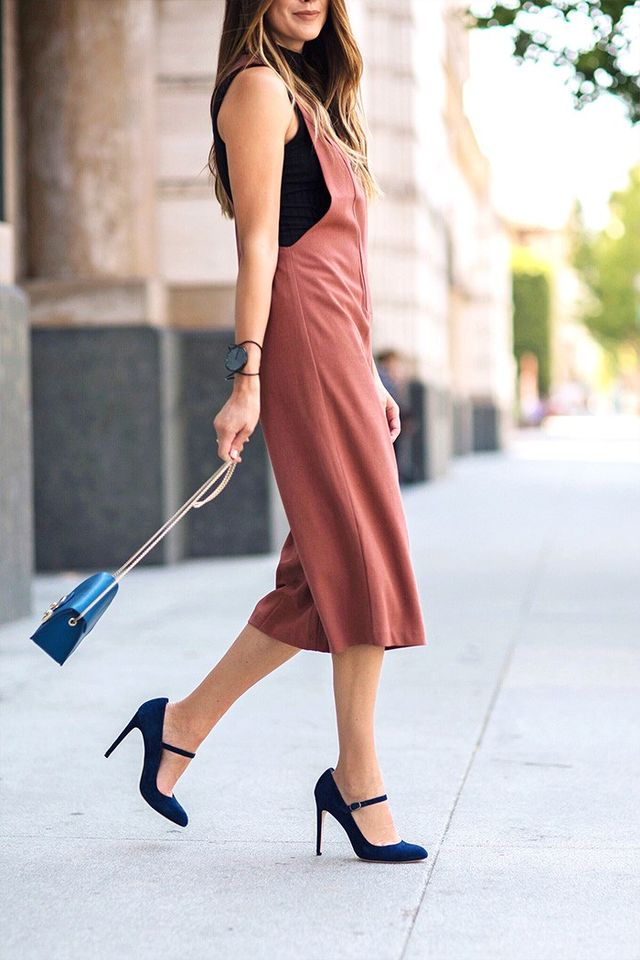"""""""Classic Mary Janes add sophistication to your look, and even though they may not be shoes you normally think to pair with a jumpsuit, it's very on trend and a cute way to update..."""