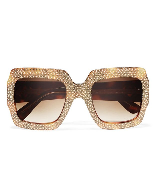 Gucci Square-Frame Crystal-Embellished Acetate Sunglasses