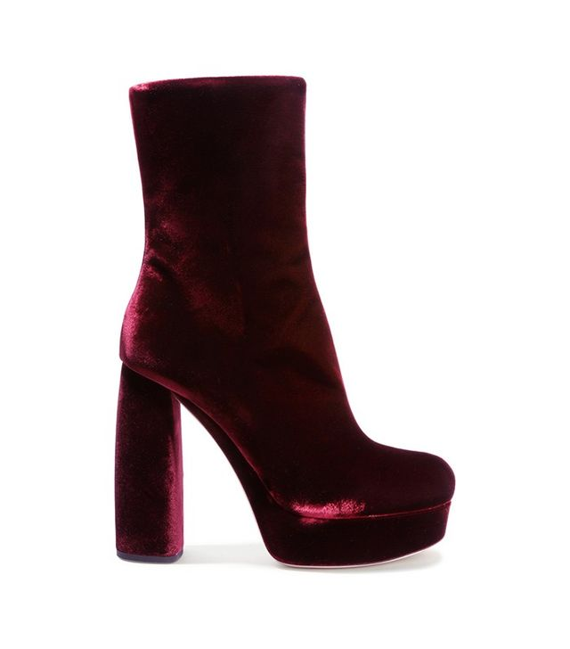 Miu Miu Leather-Trimmed Velvet Ankle Boots