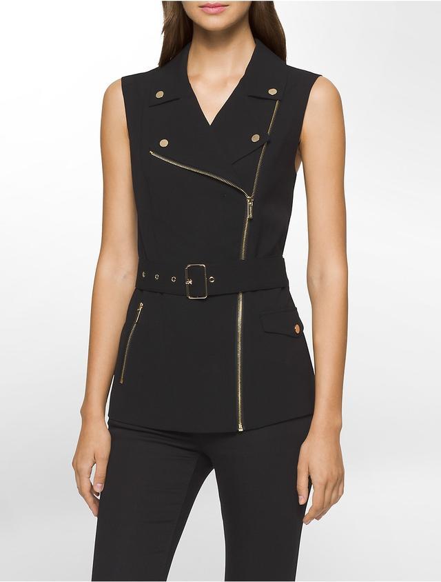 Calvin Klein Asymmetrical Zip Biker Vest