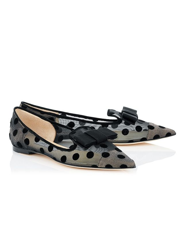 Jimmy Choo Gala Black Polka Dot Mesh Pointy Toe Flats With Bow Detail