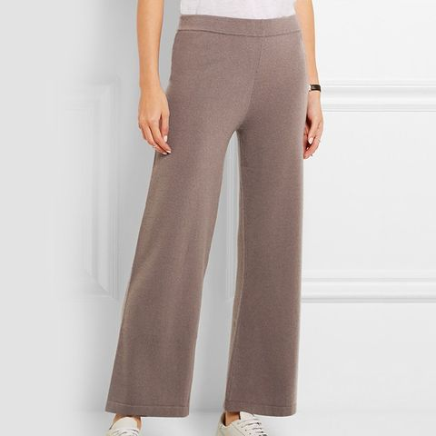 Cropped Cashmere Wide-Leg Pants