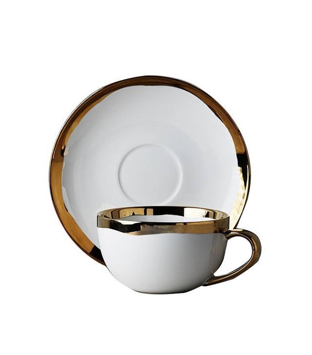 gold rimmed teacup