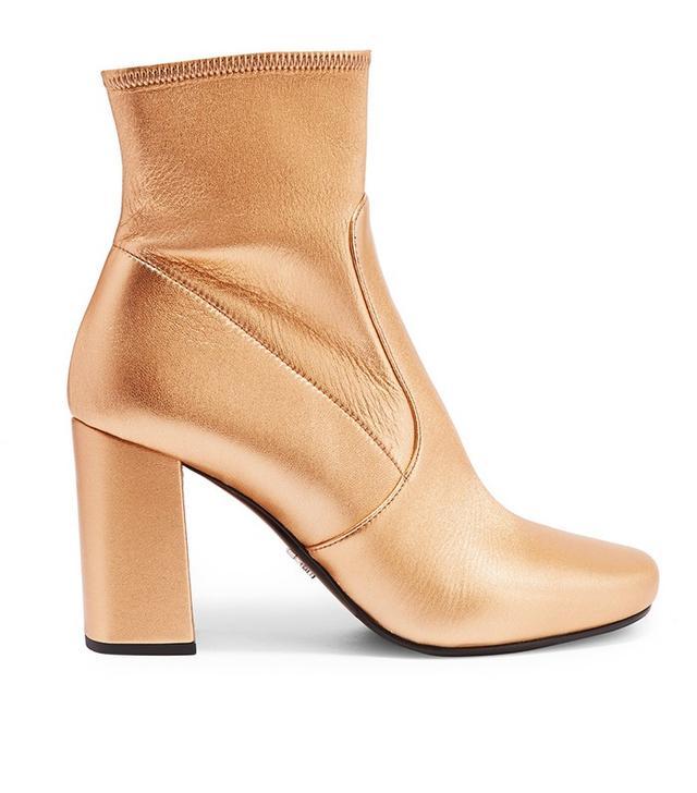 Prada Metallic Textured-Leather Ankle Boots