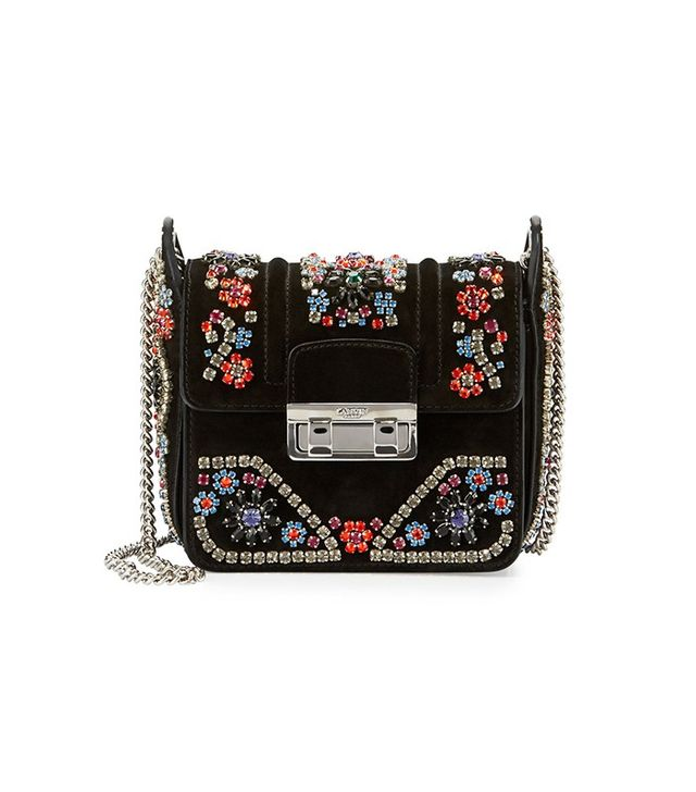 Lanvin Crystal-Embellished Suede Shoulder Bag