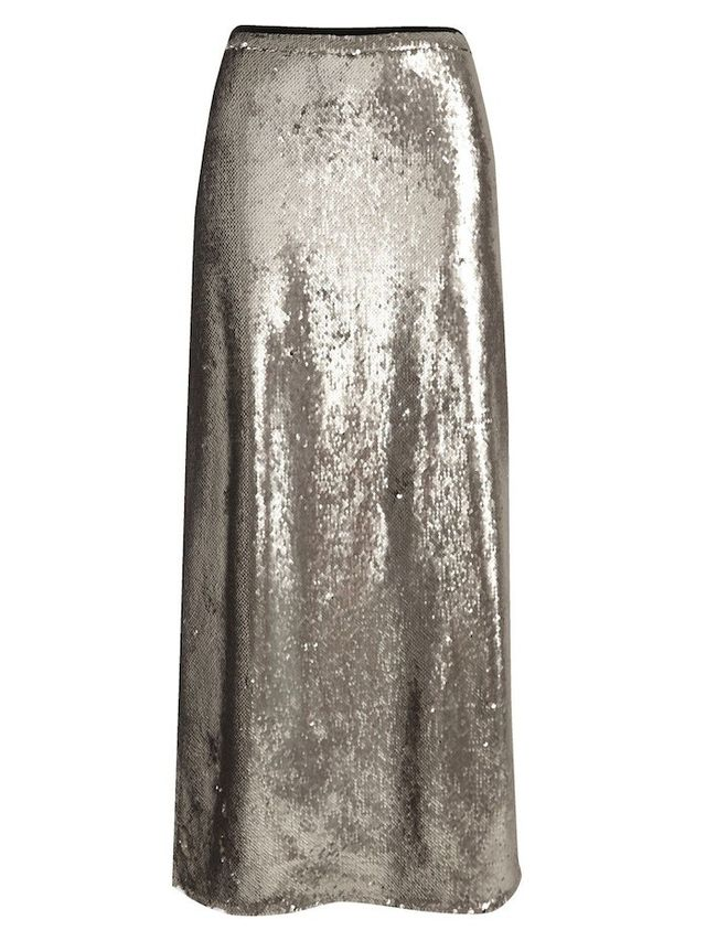 River Island Silver Sequin Maxi Skirt