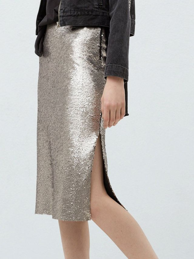 Mango Reversible Sequin Skirt
