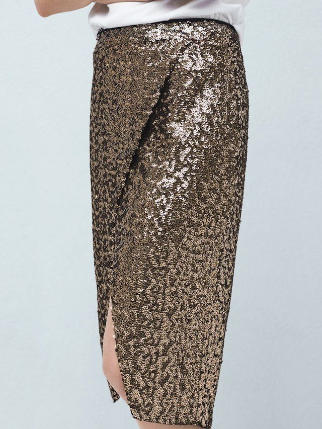 Mango Sequin Wrap Skirt
