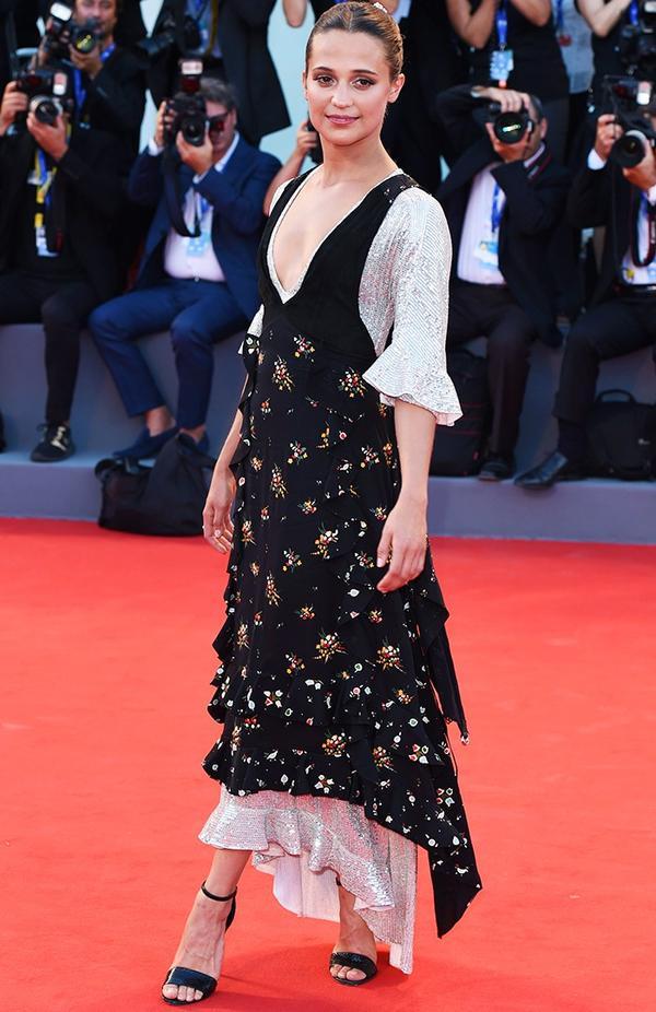 WHO: Alicia Vikander WEAR: Louis Vuitton dress.
