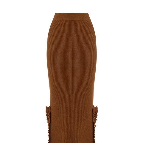 Ruffle Detail Midi Skirt
