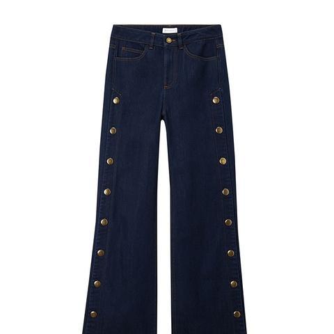 Wide-Leg Popper Jeans