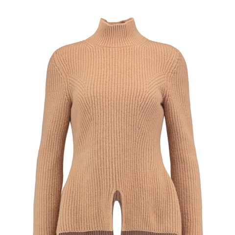 Ribbed-Knit Wool Turtleneck Sweater