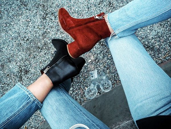 """""""Twinning with my partner in crime for the shows Shini of Park & Cube in our Filippa K and Acne boots respectively."""""""