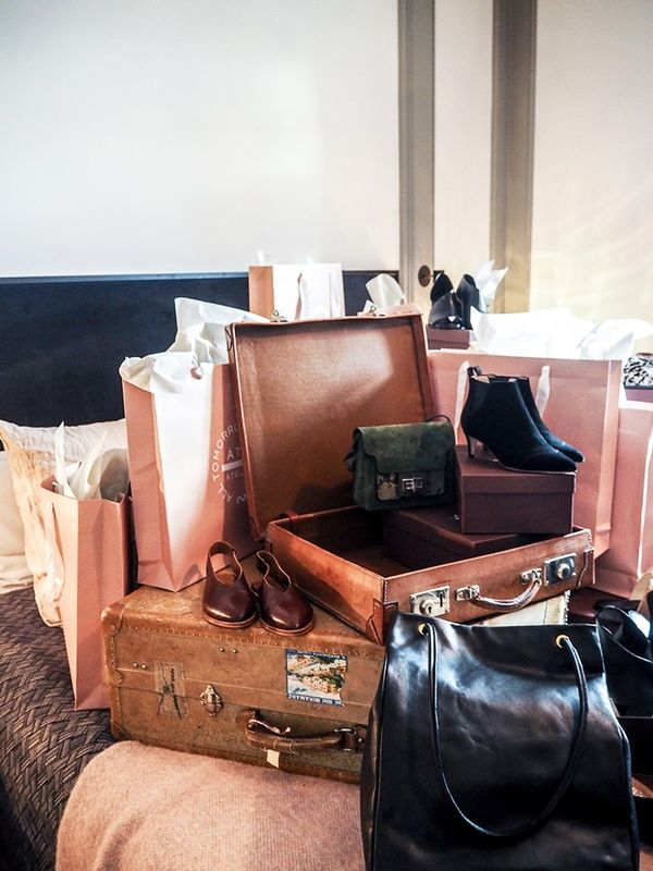 """""""One of my favourite summer shoe brands, ATP Atelierheld a hotel-room presentation with a theme of old-school Hollywood decadence with piles of their new sandals temptingly sprawled all over..."""
