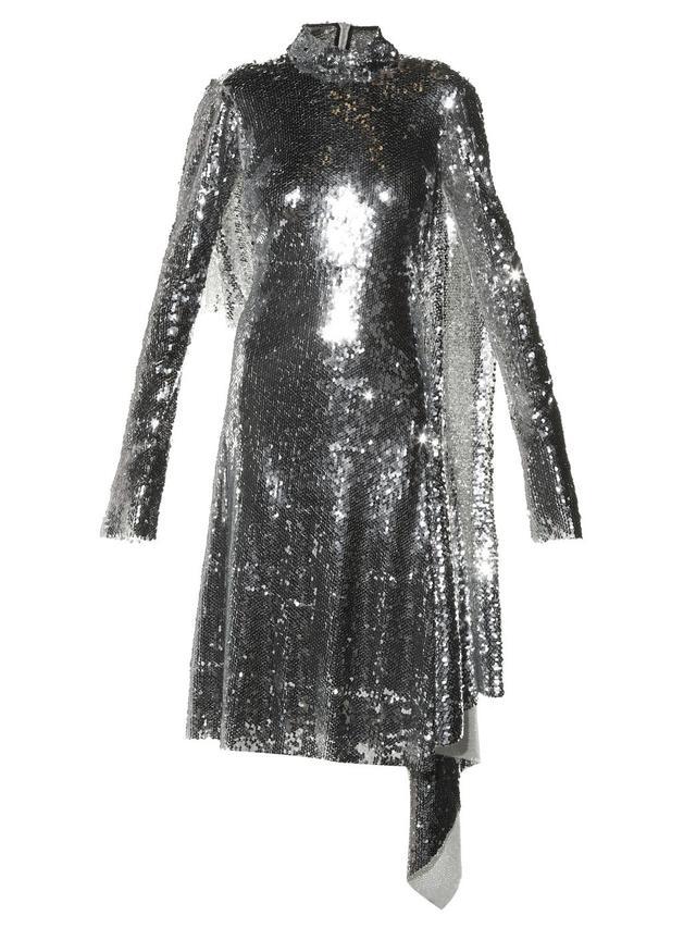Vetements Open-Back High-Neck Sequin Dress