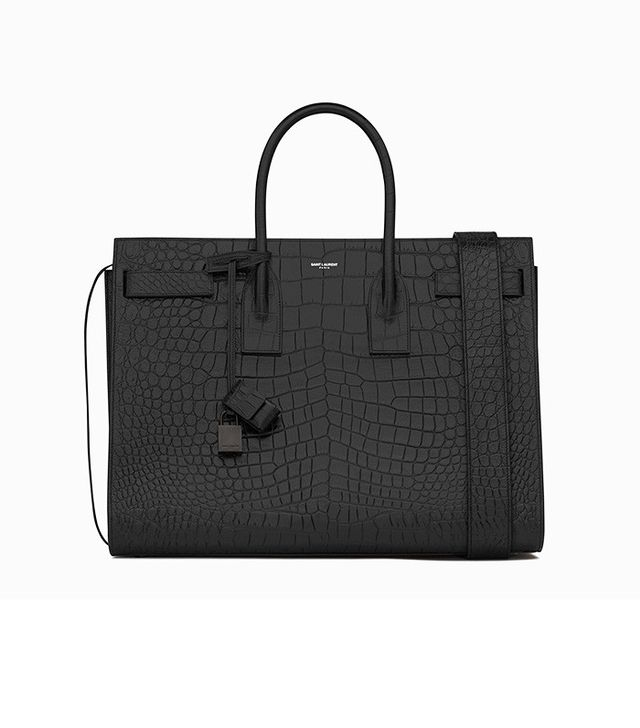 Saint Laurent Large Sac Du Jour Carry All Bag in Black Crocodile Embossed Leather