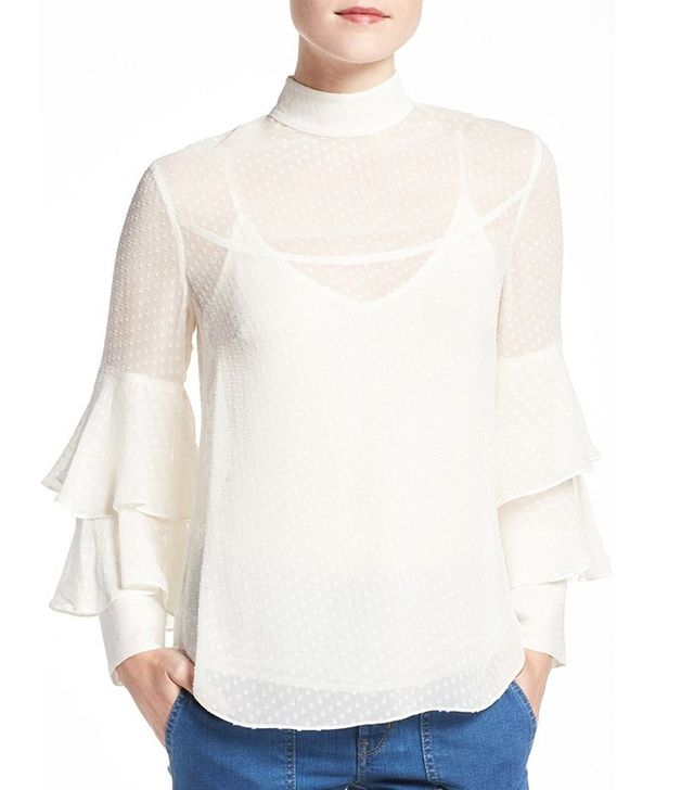 Olivia Palermo + Chelsea28 Tiered Sleeve Silk Top