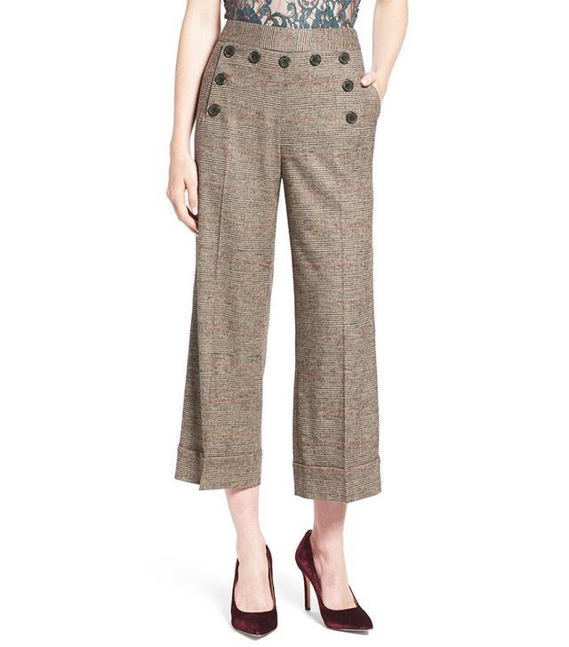 Olivia Palermo + Chelsea28 Glen Plaid Crop Wide Leg Pants