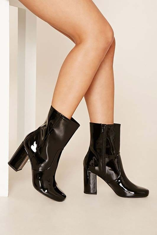 Forever 21 Faux Patent Leather Booties