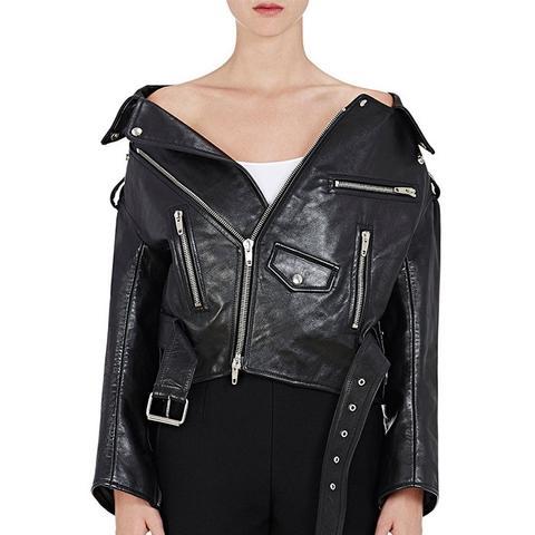 Off-the-Shoulder Leather Biker Jacket