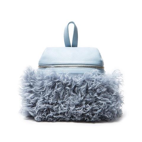 Sky Blue Shearling Backpack
