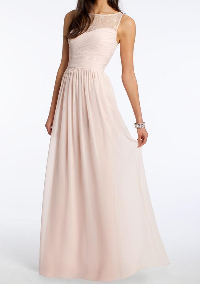 Camille La Vie Lace Illusion Neckline Dress
