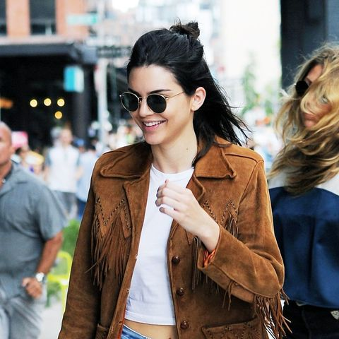 Kendall Jenner wears a fringed suede jacket
