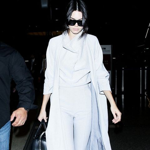 Kendall Jenner in a grey coat