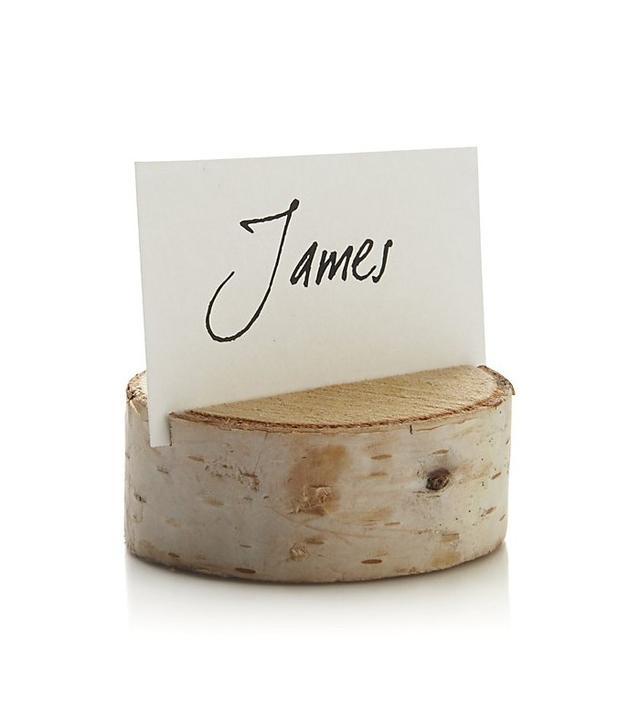 Crate & Barrel Stump Wood Place Card Holder