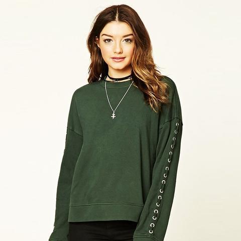 Grommet-Sleeve Sweatshirt