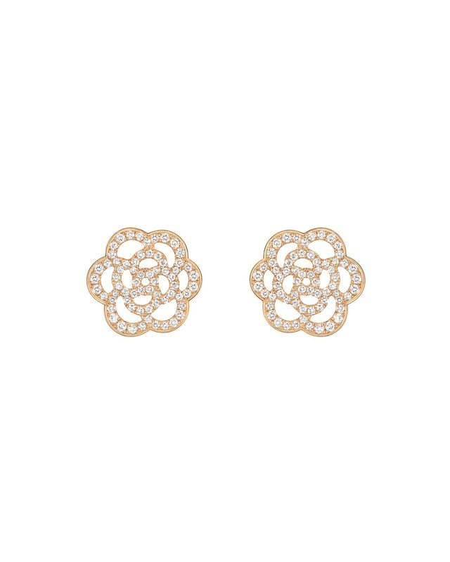 Chanel Camelia Earrings in 18K Pink Gold with Diamonds