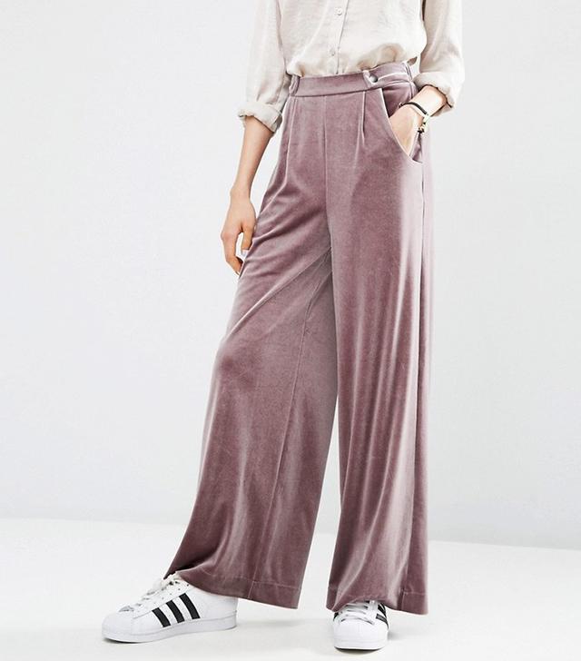 ASOS Velvet Slouch Wide Leg Trousers